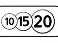 Табличка 8.8 с изображением цифр 10, 15,20